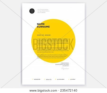 Creative Letterhead Template Design - Yellow Cover Letter Vector Sample Illustration