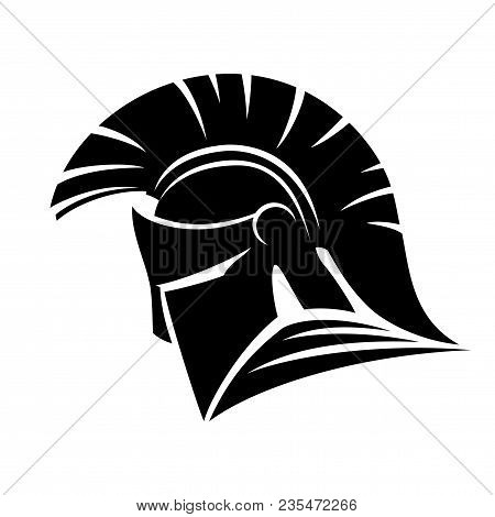 Black Spartan Helmet Sign On White Background.