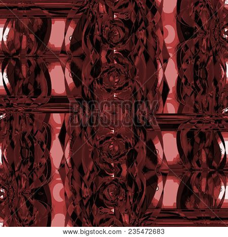 Abstract Geometric Background. Intricate Futuristic Ornaments Pink, Terra Cotta, Dark Brown And Blac