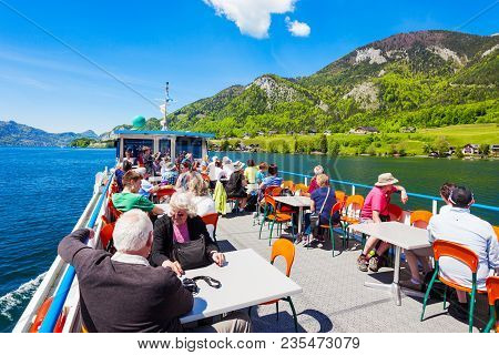 St Wolfgang, Austria - May 17, 2017: Boat Trip On Wolfgangsee Lake In Austria. Wolfgangsee Is One Of