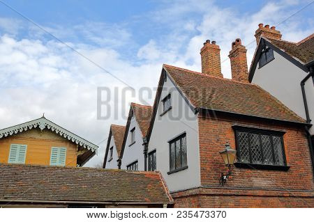 Rochester, Uk - March 23, 2018: Historic Eastgate House On High Street With Charles Dickens Swiss Ch