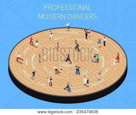 Professional Modern Dancers On Parquet Platform Isometric Flowchart On Blue Background Vector Illust
