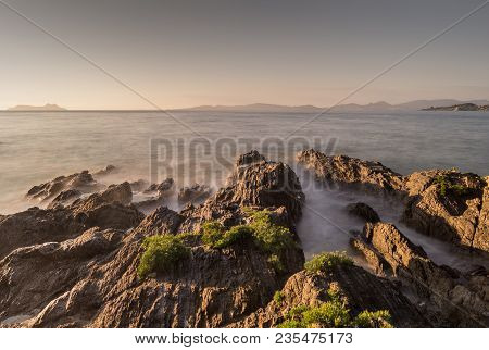 Sunset In Patos, Nigran, With Cies Islands In The Background