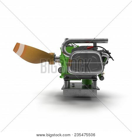Light Airplane Engine With Propeller On White Background. Side View. 3d Illustration