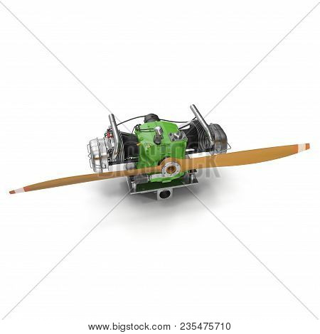 Light Airplane Engine With Propeller On White Background. 3d Illustration
