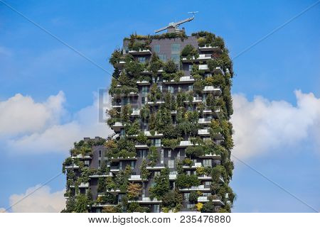 Milan, Italy - May 04 2018: Bosco Verticale, Vertical Forest Apartment Buildings In The Porta Nuova