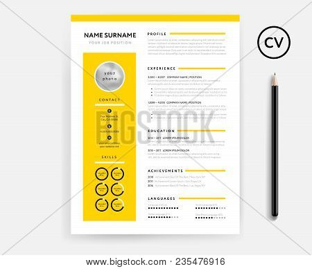 Creative Cv / Resume Minimal Template In Yellow Color. Minimalist Vector Template. Curriculum Vitae