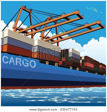 Loading Of Containers By Port Cranes On A Large Container Carrier