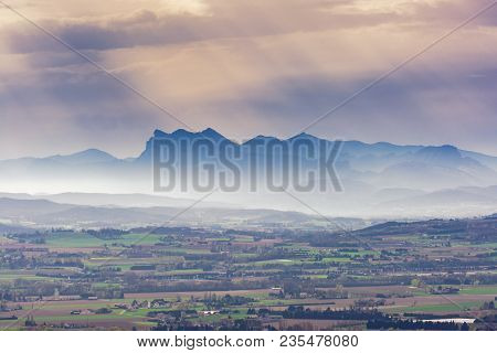 French Landscape. Panoramic View Over The Rhone Valley To The Vercors And The Alps In The Background