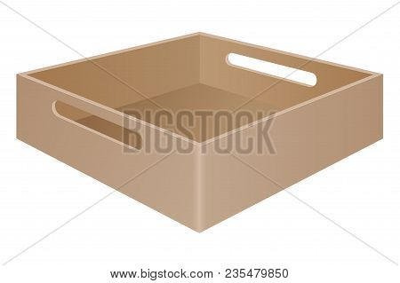 Brown Tray Box With Grab Handles. Vector 3d Illustration Isolated On White Background