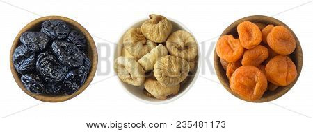 Collage Of Different Dried Fruits. Dried Prunes, Dried Apricots, Figs Isolated On White Background.