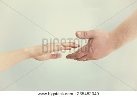 Support Concept. Two Hands Reaching Toward Each Other. Empathy, Compassion, Help, Kindness