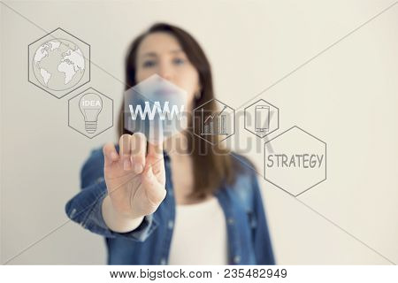 Www Concept With Hand Pressing A Button On Blurred Abstract Background. The Abstract Image Of The Ha
