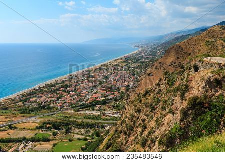 Fiumefreddo Bruzio Coast (one Of Most Beautiful Villages In Italy, On Mountain Hill Top Above Tyrrhe