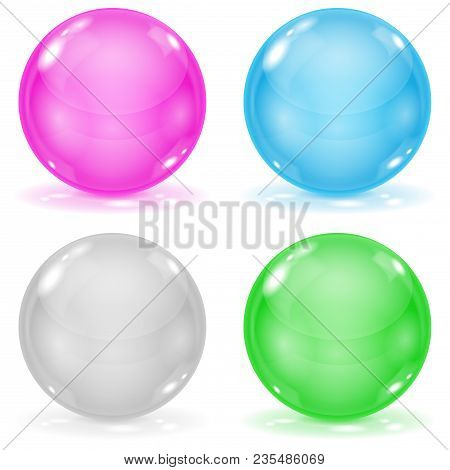 Glass Balls. Set Of 3d Shiny Sheres Isolated On White Background. Vector Illustration