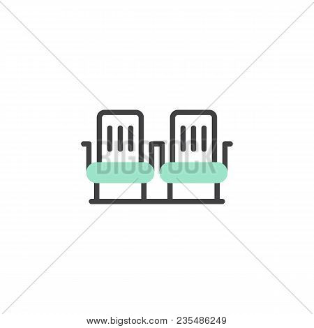 Airplane Seats Icon Vector, Linear Flat Sign, Bicolor Pictogram, Green And Gray Colors. Two Rows Sea