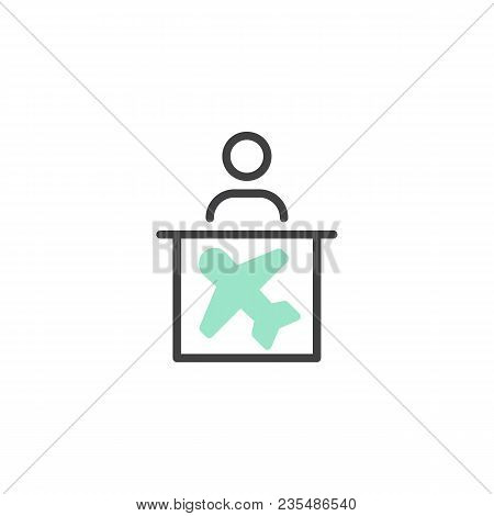 Airport Help Desk Icon Vector, Linear Flat Sign, Bicolor Pictogram, Green And Gray Colors. Airline I