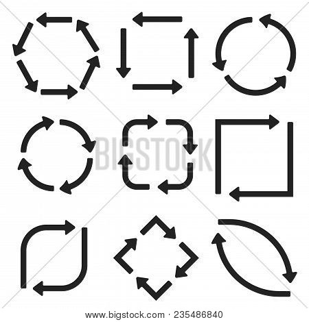 Arrows In Circular Motion. Arrow Combinations. Vector Illustration Isolated On White Background