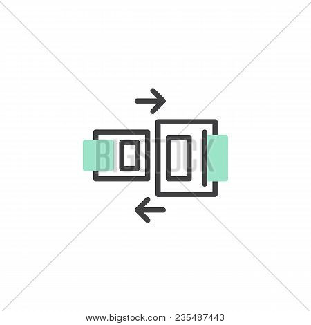 Safety Belt Icon Vector, Linear Flat Sign, Bicolor Pictogram, Green And Gray Colors. Seat Belt Symbo