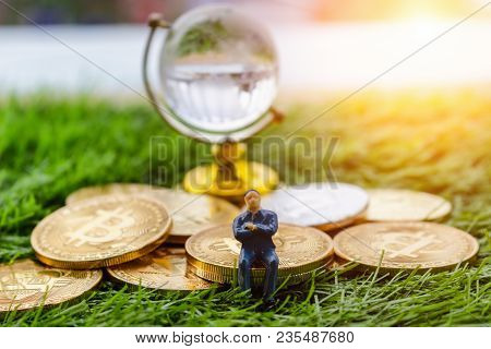 Gold Crytocurrency Bitcoin Rests On The Grass In A Concept That Represents The Financial Economy Tha