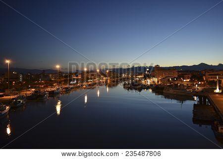 Night Panorama Of Pescara, Bridge Of The Sea, Abruzzo, Italy