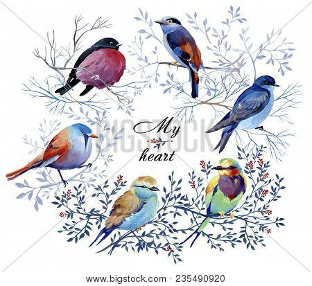 Gouache Round Natural Wreath Branches With Leaves And A Bird