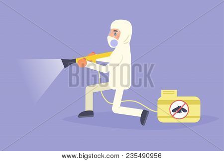 Disinsection Vector. Cartoon Isolated Art Flat Pest Control