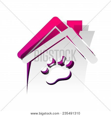 Pet Shop, Store Building Sign Illustration. Vector. Detachable Paper With Shadow At Underlying Layer