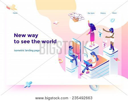 Virtual Augmented Reality Glasses Concept With People Learning And Entertaining. Landing Page Templa
