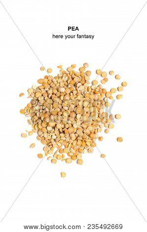 Peas On White Background, Dry.leguminous Crop.close Up.