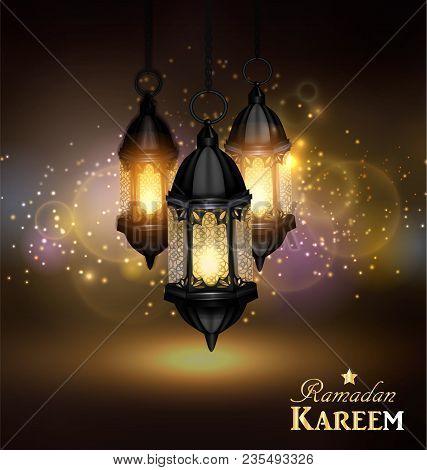 Ramadan Kareem Greetings With Colorful Set Of Lanterns Or Fanous Hanging In A Dark Glowing Backgroun