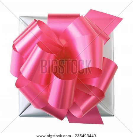 Grey Gift Box With Red Bow Top View Isolated Over White Background
