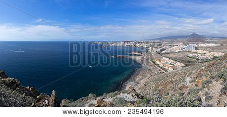 Panoramic View From The Top To The Town Los Cristianos On The Island Of Tenerife, Canary Islands, Sp