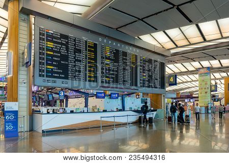 Departure Board In Changi Airport Singapore