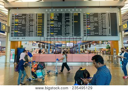 Singapore - January 6, 2018: Departure Board In Changi Airport. Departure Hall Singapore. It Has 3 P