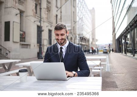 Businessman working outside the office
