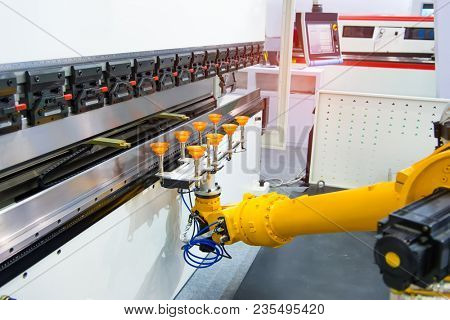 Robotic and Automation system control application on automate robot arm in smart manufacturing background.