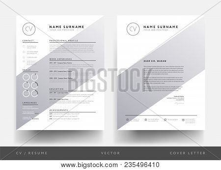 Minimalist Cv Resume And Letterhead For Creative Person - Creative Geometric Shape Design Template -