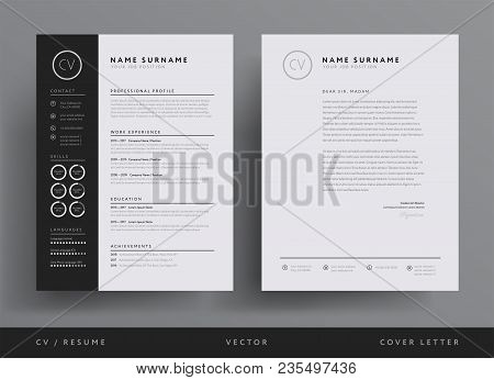 Professional Cv Resume Template Design And  Letterhead / Cover Letter - Vector Minimalist - Black An