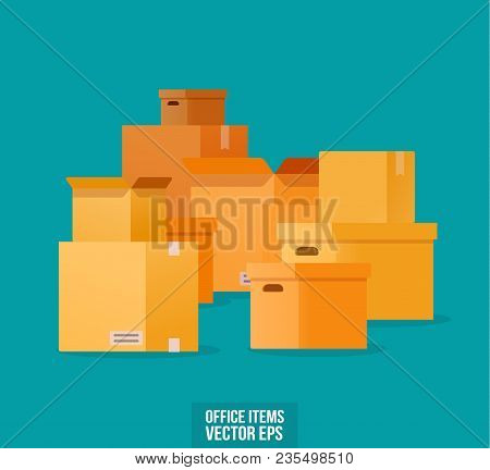 Pile Of Stacked Sealed Goods Cardboard Boxes.