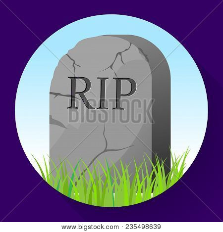 Headstone Icon In Cartoon Style. Funeral Ceremony Symbol Stock Vector Illustration