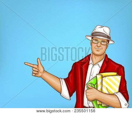 Vector Pop Art Pretty Fat Man With Shopping Bags. Obese Handsome Character In Suit, Red Jacket, Whit