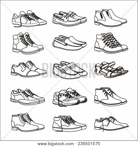 Shoes Icons Set. Footwear Icons Set. Set Of Shoes Icons In A Linear Style. Collection Of Shoes Picto