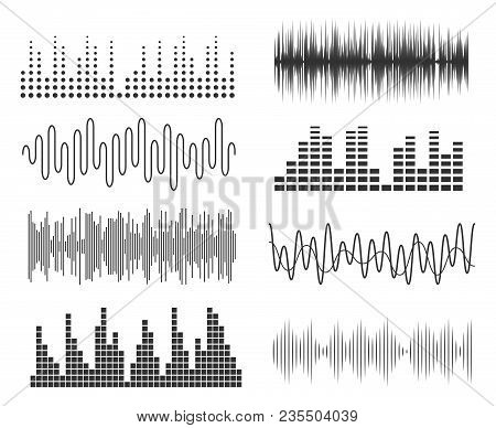 Set Of Sound Music Waves. Audio Technology Musical Pulse Or Sound Charts. Vector Music Waveform Equa