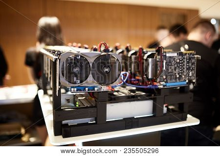 Cryptocurrency Mining Equipment Rig - Lots Of Gpu Cards On Mainboard. Graphics Processing Units Conn