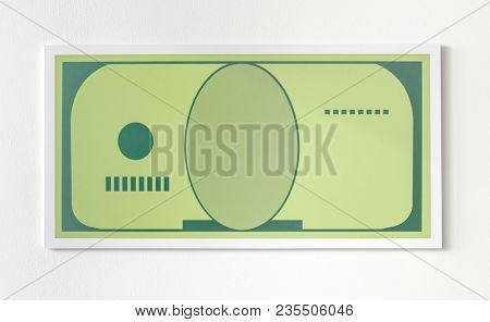 Paper money with design space icon