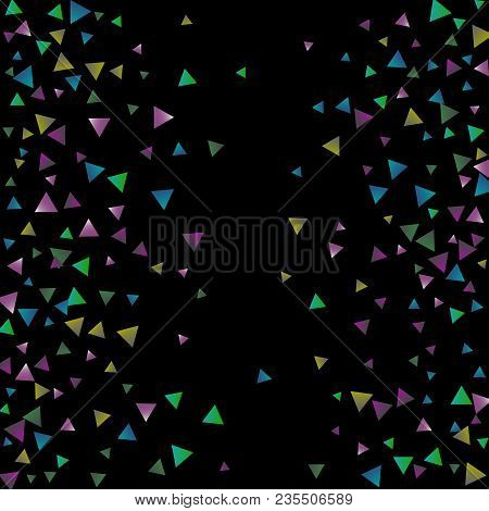 Confetti Bright Triangles On A Black Background. Illustration Of A Drop Of Multicolored Shiny Partic