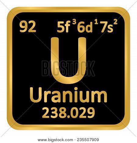 Periodic table element uranium icon on white background. Vector illustration. poster