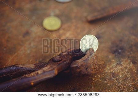 The Division Of The Russian Ruble In Half, The Poverty And Misery Of Coins In Wire Cutters, Deprecia