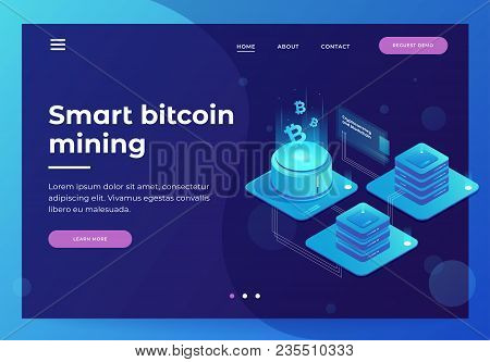 Cryptocurrency And Blockchain Concept. Farm For Mining Bitcoins. Digital Money Market, Investment, F